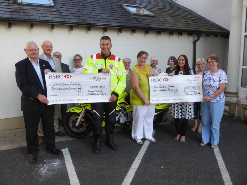 Donations were made to West Cumbria Carers and Blood Bikes Cumbria